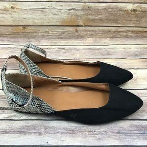 GAP Black Beige Snakeskin Ankle Strap Flat Shoes
